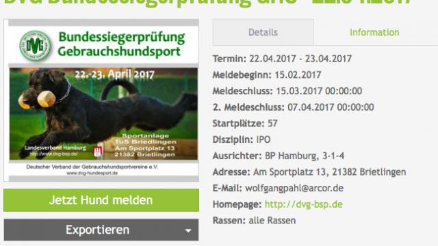 Wichtige Information zum Meldeverfahren DVG Bundessiegerprüfung Gebrauchshundsport 2017