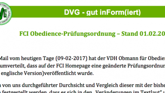 DVG Erläuterungen zur FCI PO Obedience